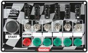 Switch Panel - Dash Mount - 6-7/8 in x 4-1/8 in - 6 Toggles/1 Momentary Push Button - Warning Light - Fused - Aluminum - Each