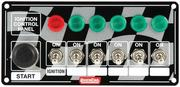 Switch Panel - Dash Mount - 6-7/8 in x 3-1/4 in - 6 Toggles/1 Momentary Push Button - Warning Light - Aluminum - Each