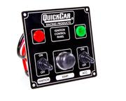 Switch Panel - Dash Mount - 4-5/8 x 4-3/8 in - 2 Toggle/1 Momentary Button - Warning Lights - Aluminum - Black - Kit