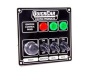 Switch Panel - Dash Mount - 4-5/8 x 4-3/8 in - 3 Toggle/1 Momentary Button - Warning Lights - Aluminum - Black - Kit