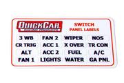 Switch Panel Sticker - 16 Various Functions - 5 or Less Switches - Quickcar Switch Panel - Each