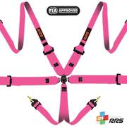 "RRS FIA 3"" 2"" PRO 6 HANS Pink Harnesses 2016 Logos Orange"