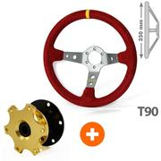 Pack RRS Flying Corsa Red Belling 90mm + 3 Branches Retractable Steering Wheel Hub