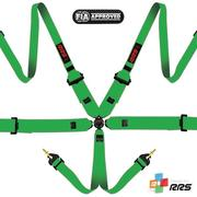 "RS FIA 3"" 2"" PRO 6 HANS® Green harnesses 2016 logos Yellow"
