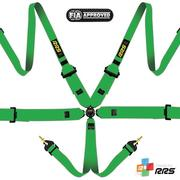 "RRS FIA 3"" 2"" PRO 6 HANS® Green harnesses 2016 logos Red"
