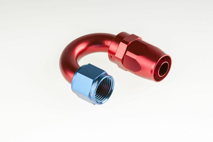 AN-6 180° Proline Hose end - Compression design - red/blue