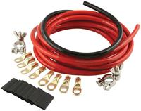 Battery Cable Kit - 4 Gauge - 15 ft Red/2 ft Black - Top Mount Battery Terminals - Terminals/Heat Shrink Included - Kit